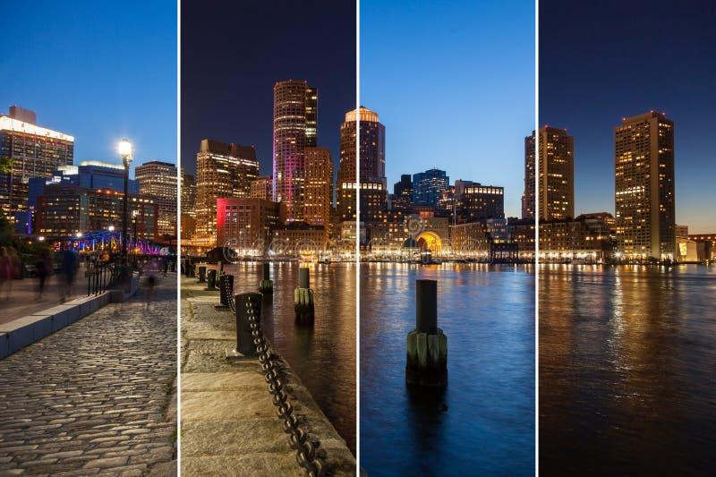 波士顿对夜蒙太奇-马萨诸塞的地平线天-美国-单位 库存照片