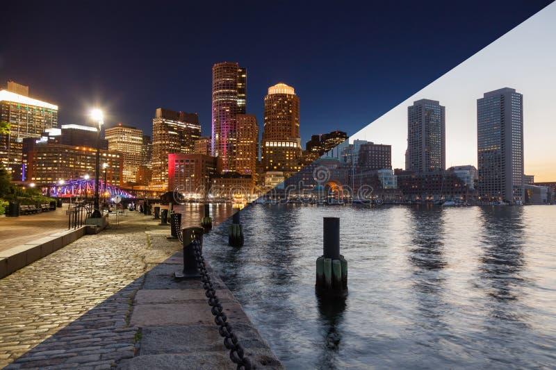 波士顿对夜蒙太奇-马萨诸塞的地平线天-美国-单位 库存图片
