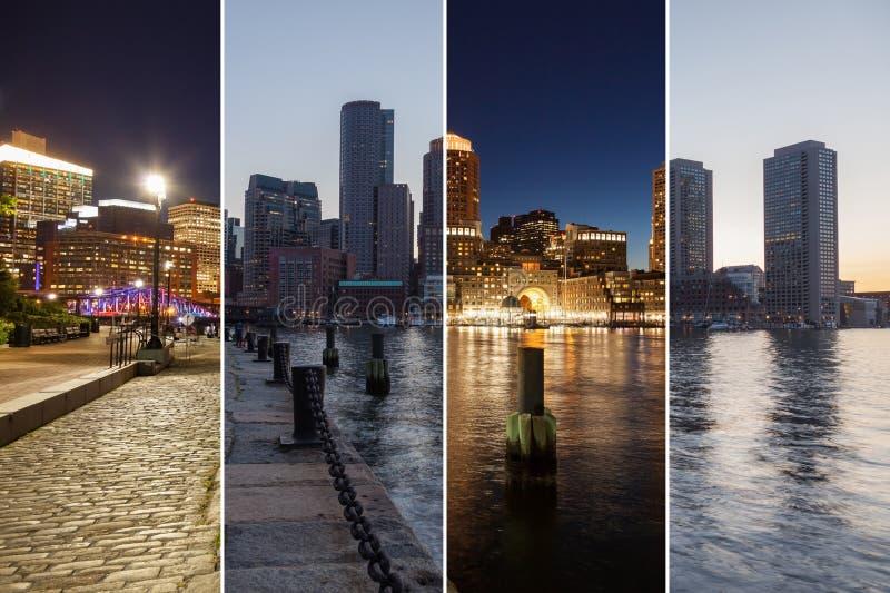 波士顿对夜蒙太奇-马萨诸塞的地平线天-美国-单位 免版税库存图片