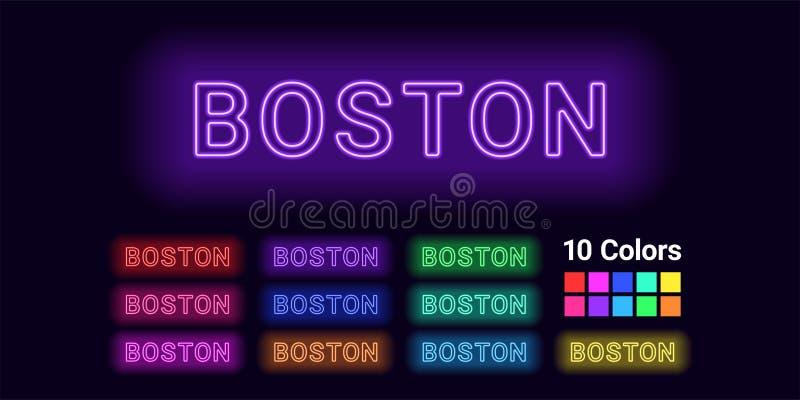 波士顿市的霓虹名字 皇族释放例证