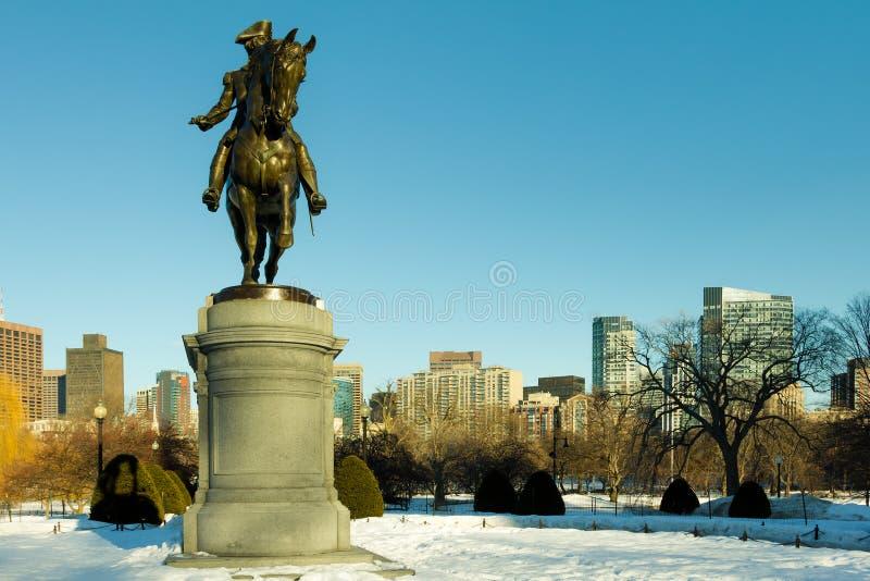 波士顿庭院公共冬天 免版税库存图片