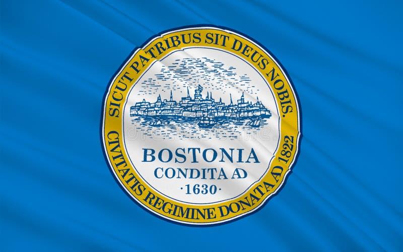 波士顿旗子在马萨诸塞,美国 向量例证