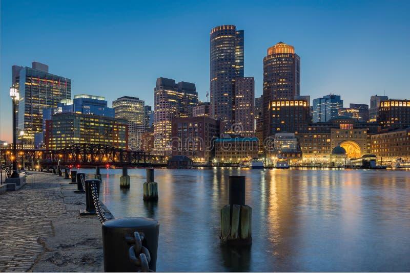波士顿港口江边 库存照片