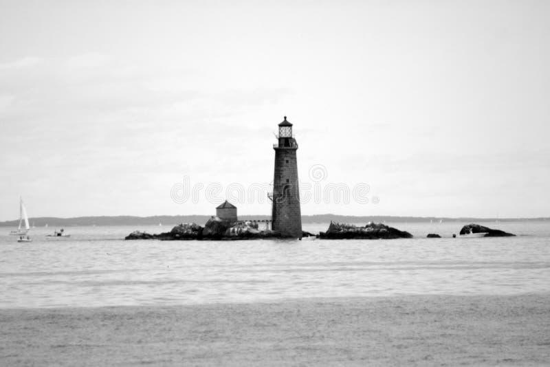 波士顿港口灯塔是最旧的灯塔在新英格兰 免版税图库摄影