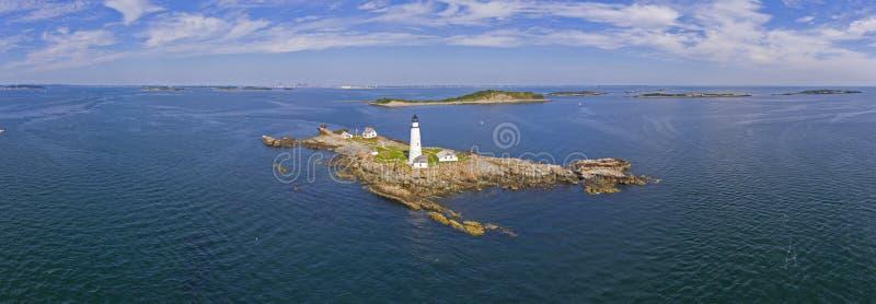 波士顿灯塔在波士顿港口,马萨诸塞,美国 免版税库存图片
