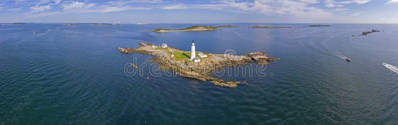 波士顿灯塔在波士顿港口,马萨诸塞,美国 图库摄影
