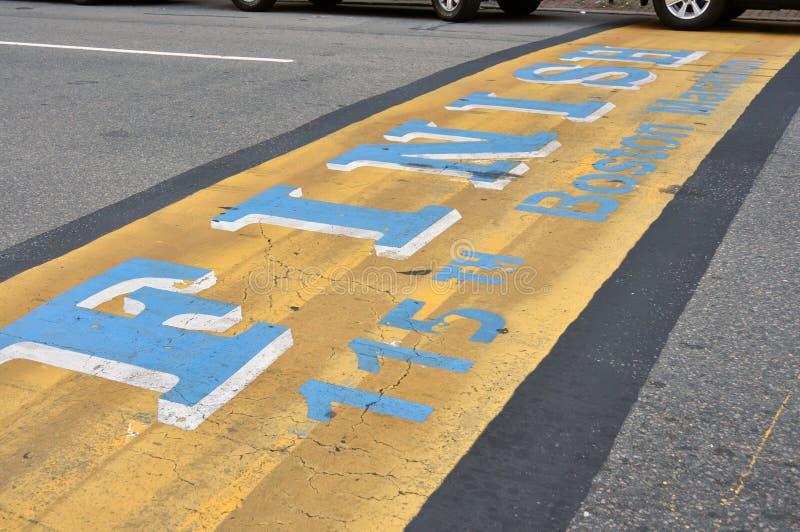 波士顿终点线马拉松 免版税库存照片