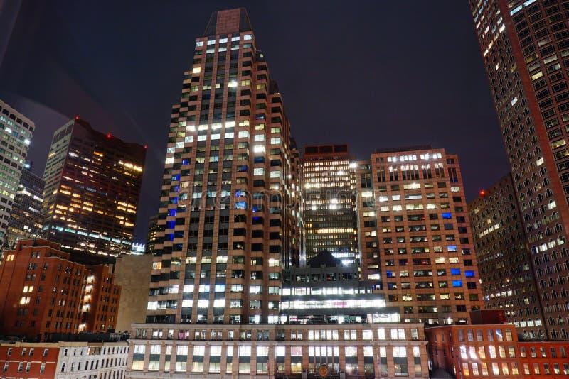 波士顿街市在晚上 库存图片