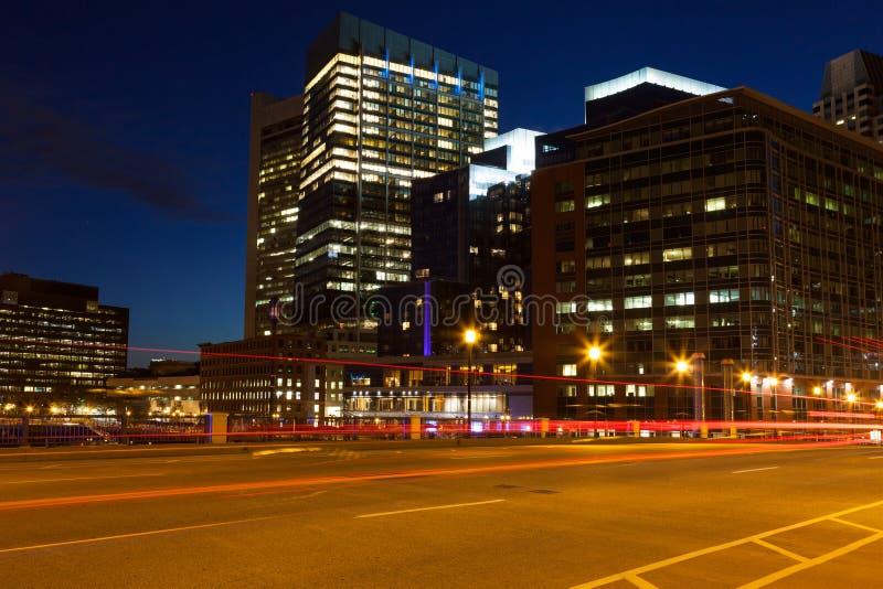 波士顿街道在晚上之前 免版税库存图片