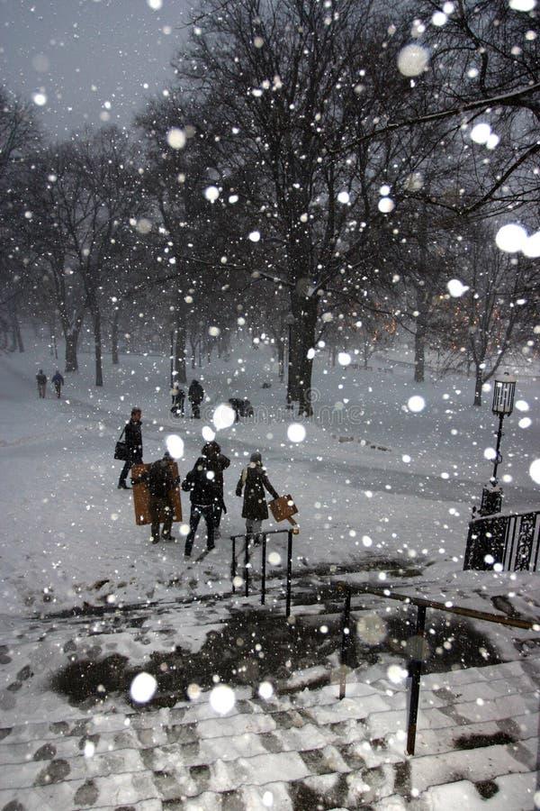 波士顿雪风暴 免版税库存图片