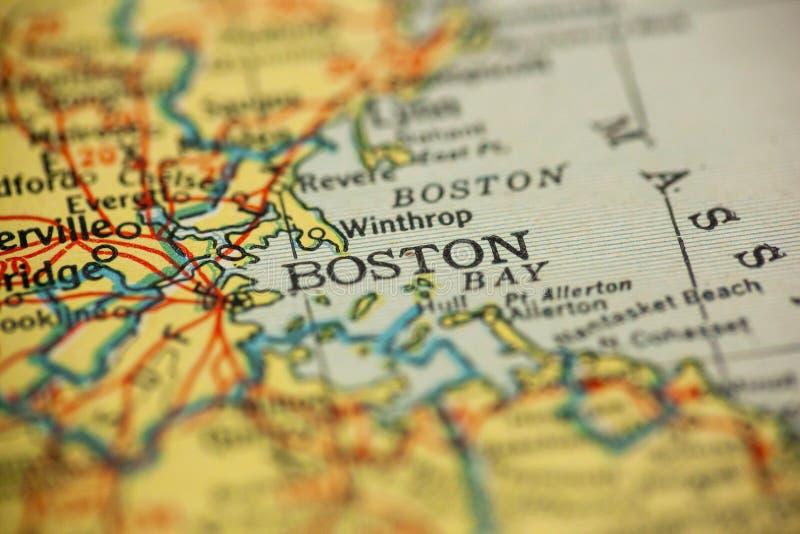 波士顿马萨诸塞地图 免版税图库摄影
