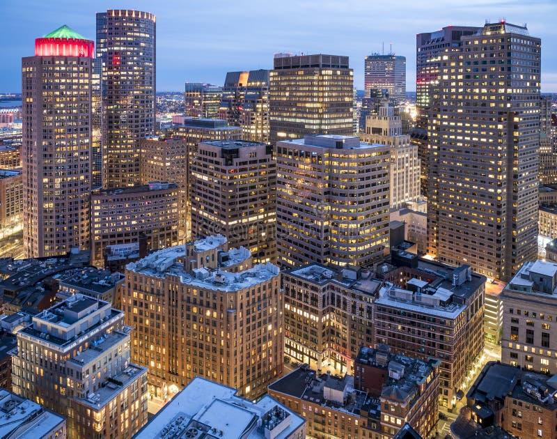 波士顿鸟瞰图在马萨诸塞,美国 库存图片