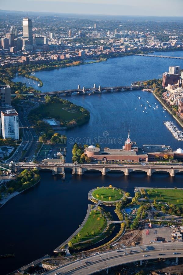 波士顿鸟瞰图  库存照片