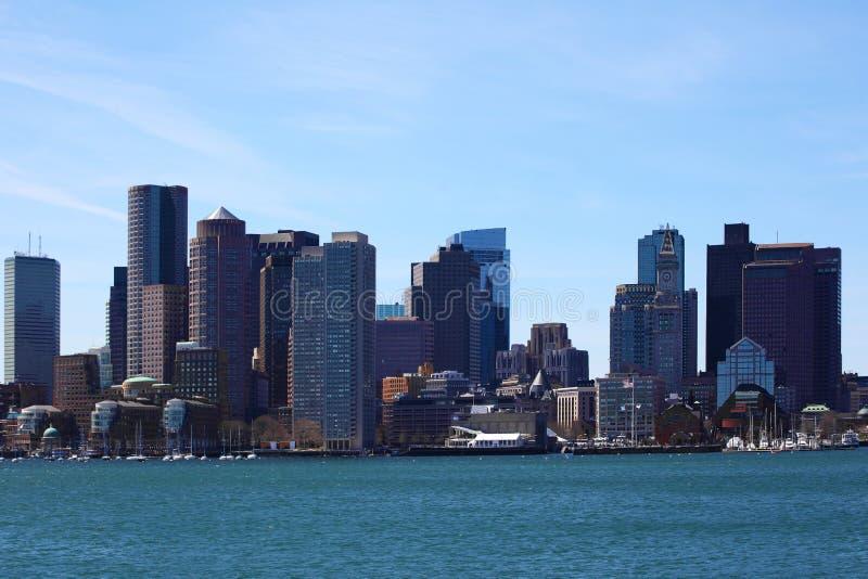 波士顿,马萨诸塞的接近的看法地平线 免版税图库摄影