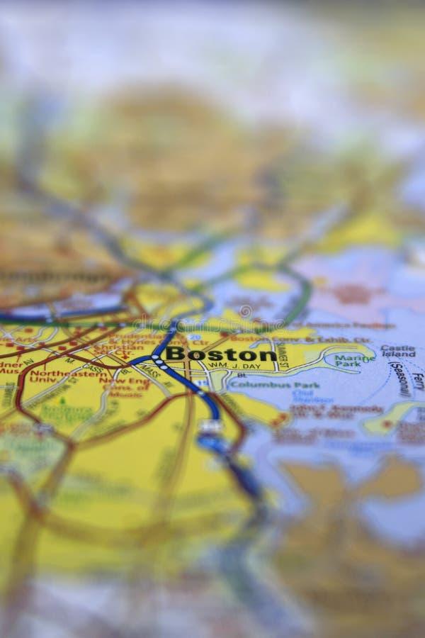 波士顿,麻省在与有限的焦点的纸路线图围绕 免版税库存图片