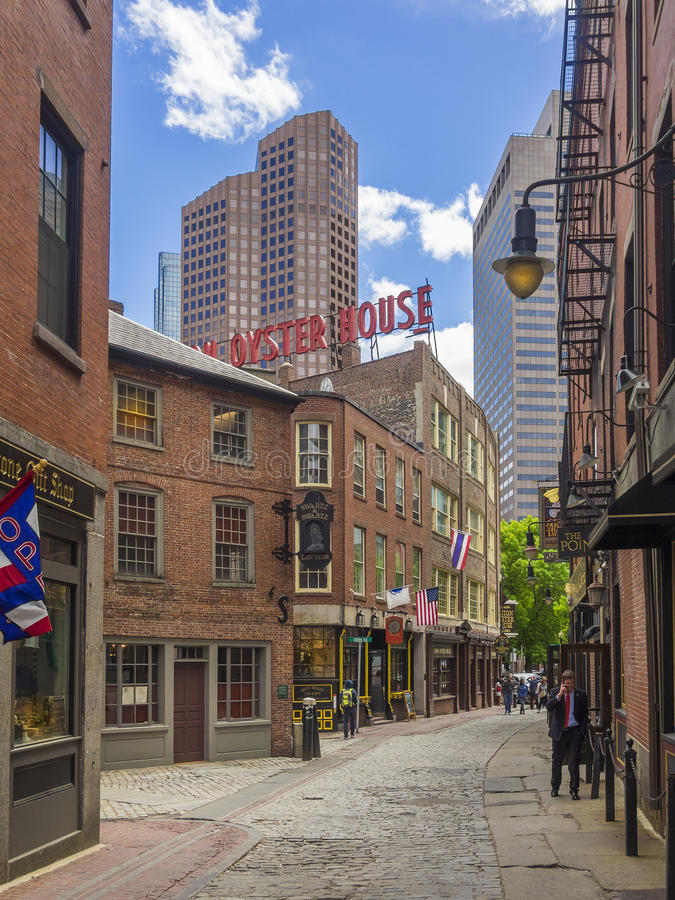 波士顿,麻省老街道  美国 图库摄影