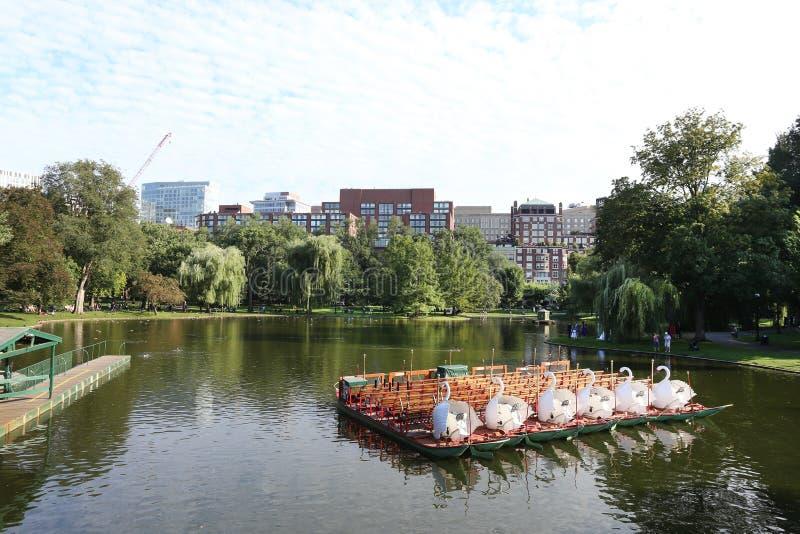波士顿9月10日:波士顿共同的公园湖在Massachusett 免版税库存图片