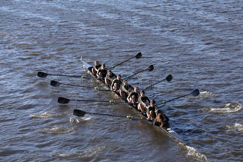 波士顿- 2016年10月23日:西点军校学院在查尔斯赛船会妇女的大学Eights头赛跑  图库摄影