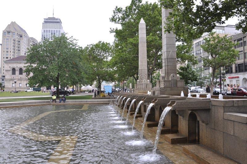 波士顿Ma, 6月30日:Copley摆正从波士顿的喷泉Massachusettes国家的美国 免版税图库摄影