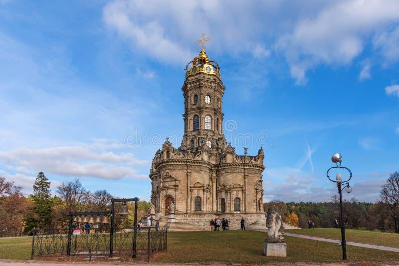 波多利斯克,俄罗斯- 2018年10月20日:Dubrovitsy庄园 Znamenskaya教会 波多利斯克 执行莫斯科地区俄国符号认为什么您 免版税库存照片