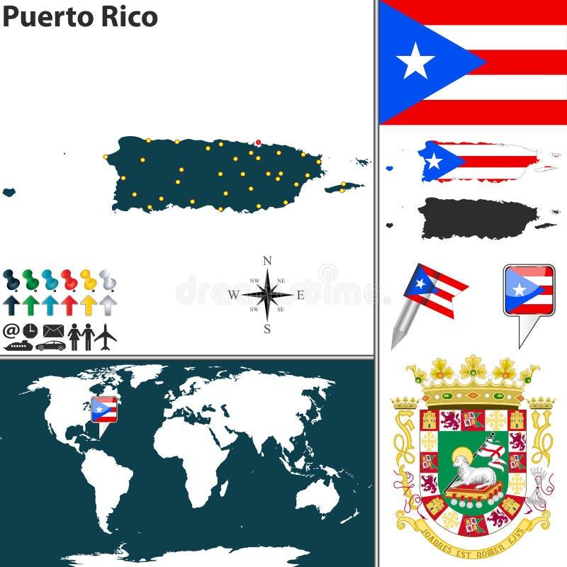 波多黎各的地图 库存图片