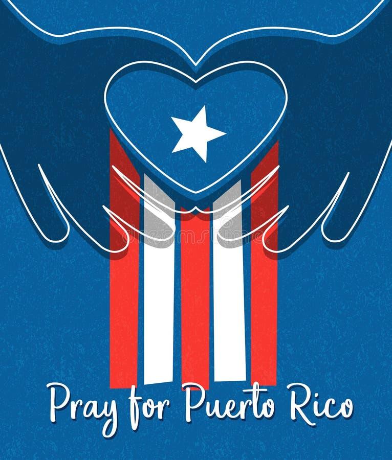 波多黎各设计的飓风安心 波多黎各人旗子用形成心脏形状的手 皇族释放例证