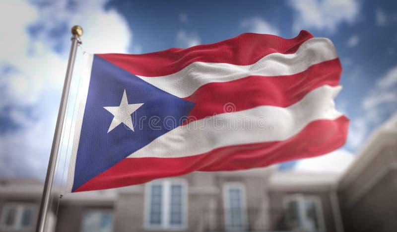 波多黎各在蓝天大厦背景的旗子3D翻译 图库摄影