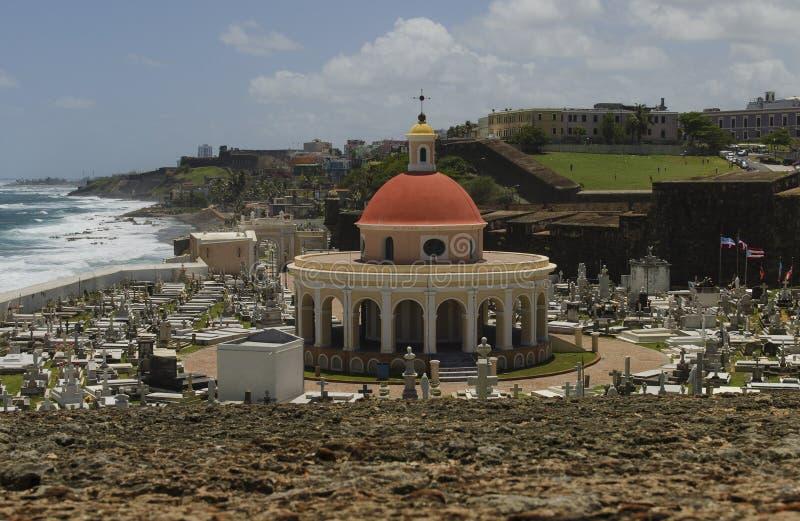 波多黎各的老圣胡安沿海视图 库存照片