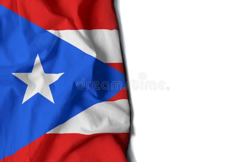 波多黎各起了皱纹旗子,文本的空间 免版税库存图片