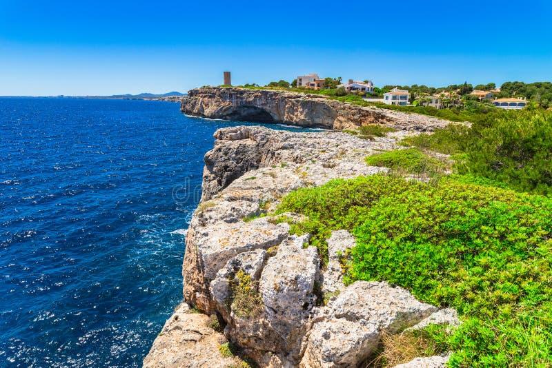 波尔图克里斯多西班牙马略卡海岸线  库存照片