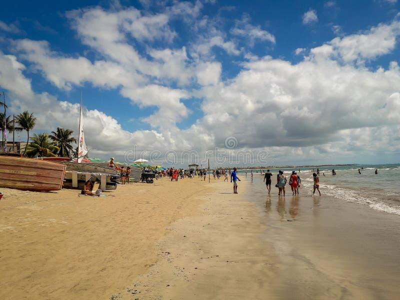 波尔图加利尼亚斯岛,伯南布哥,巴西,2019年3月16日-享用海滩的人们 库存图片