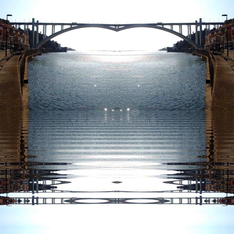 波尔图市杜罗河河摘要数字艺术 图库摄影