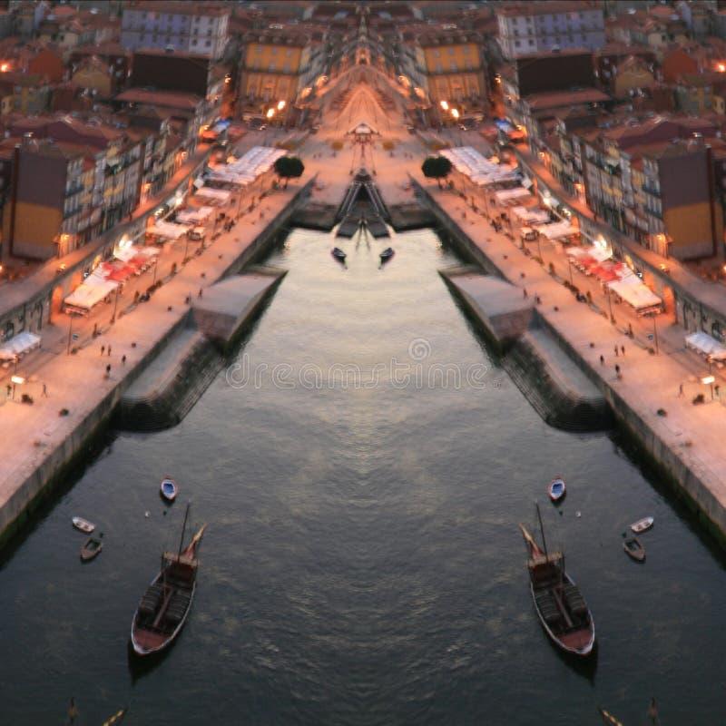 波尔图市ribeira抽象数字艺术 免版税图库摄影