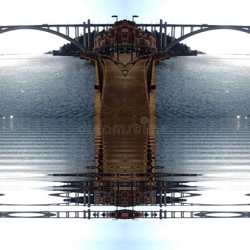 波尔图市ribeira抽象数字艺术 免版税库存照片
