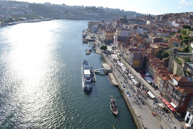 波尔图河边,葡萄牙 免版税图库摄影