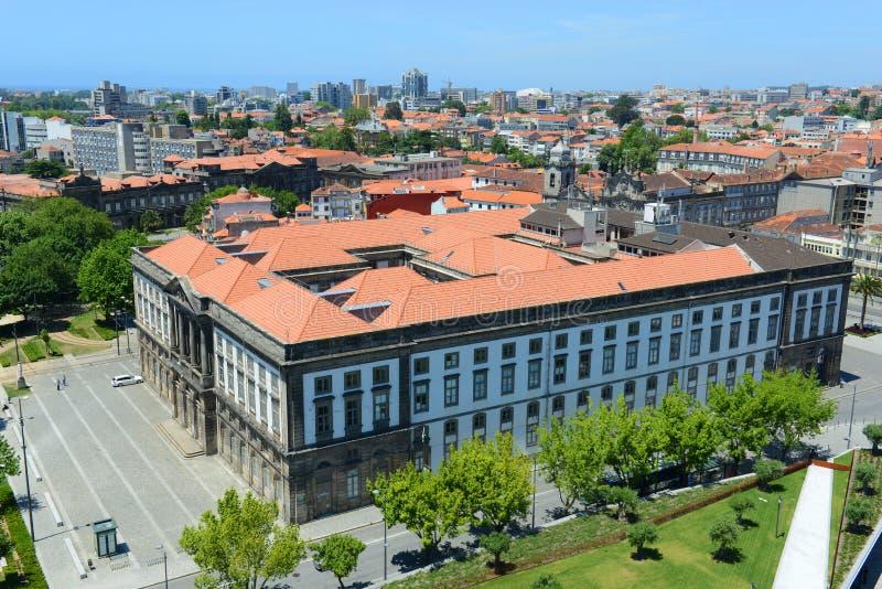 波尔图耶路撒冷旧城鸟瞰图,葡萄牙 免版税库存图片