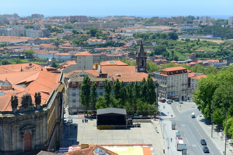 波尔图耶路撒冷旧城鸟瞰图,葡萄牙 库存照片