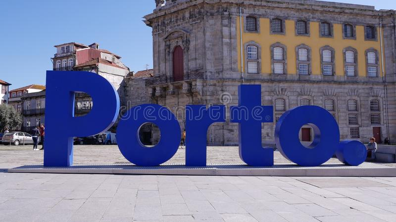 波尔图词签到葡萄牙,受游人,葡萄牙欢迎 库存图片