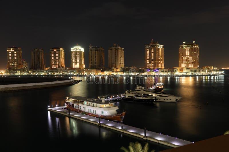 波尔图阿拉伯半岛在晚上。多哈 图库摄影