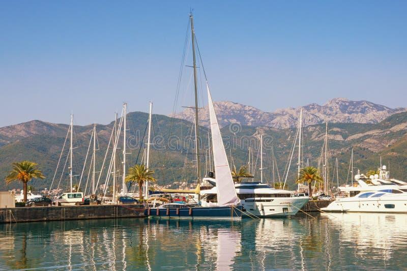 波尔图黑山游艇小游艇船坞看法  黑山,科托尔湾,蒂瓦特 免版税库存图片