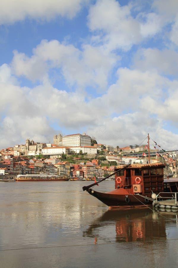波尔图和rabelo小船,葡萄牙 免版税库存图片