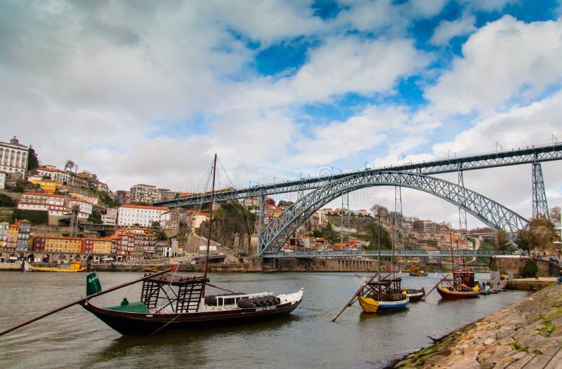 波尔图,葡萄牙河沿  免版税图库摄影