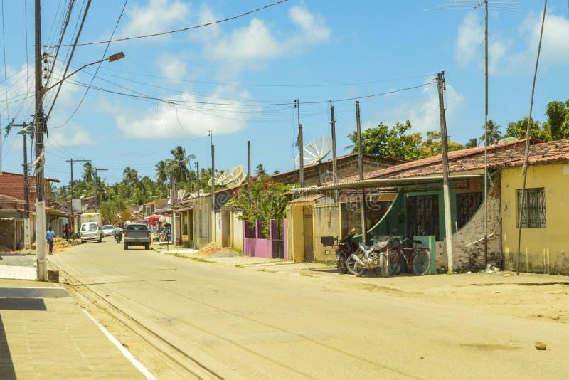 波尔图da Rua,São米格尔dos Milagres,阿拉戈斯街道  库存图片