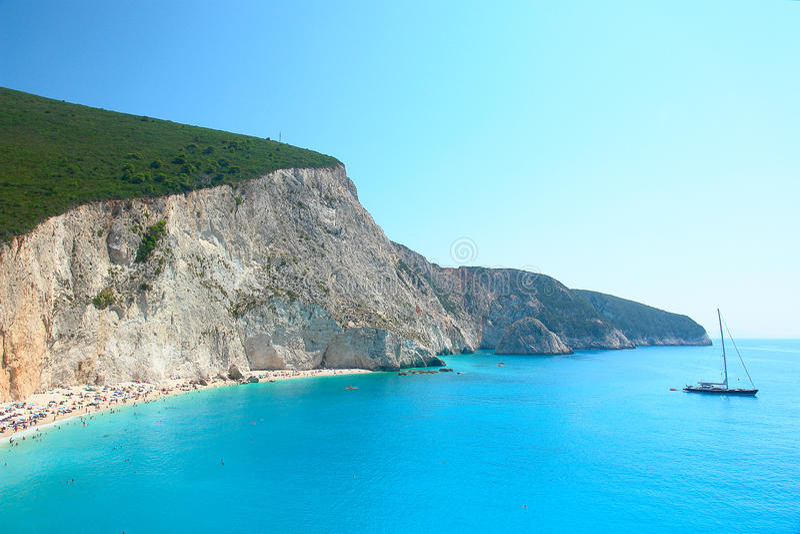 波尔图Katsiki在Lefkada海岛希腊 免版税库存照片