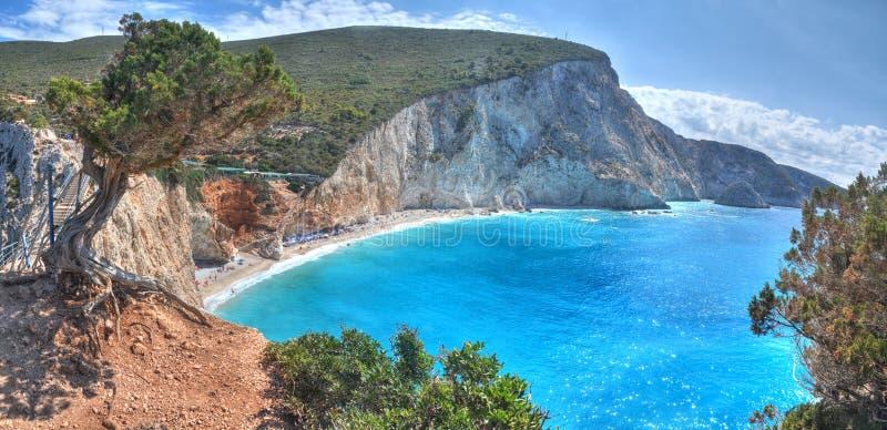 波尔图Katsiki海滩全景, Lefkada,希腊 库存图片
