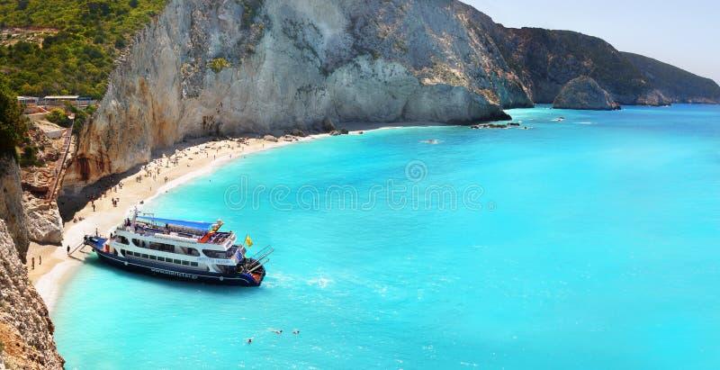 波尔图Katsiki海滩全景, Lefkada,希腊 图库摄影