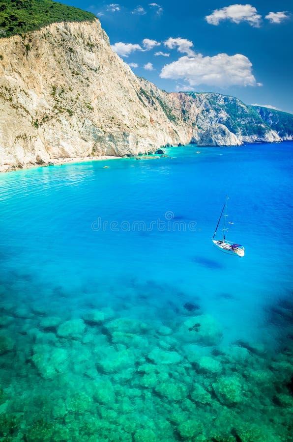 波尔图Katsiki海滩在莱夫卡斯州海岛,希腊 库存照片