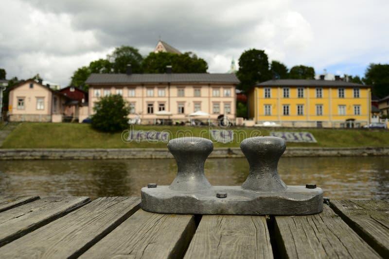 波尔沃,芬兰- 2016年8月3日:老芬兰镇的看法 免版税库存照片
