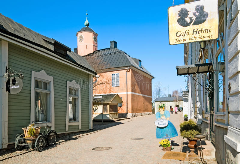波尔沃 芬兰 小街道在老波尔沃 库存图片