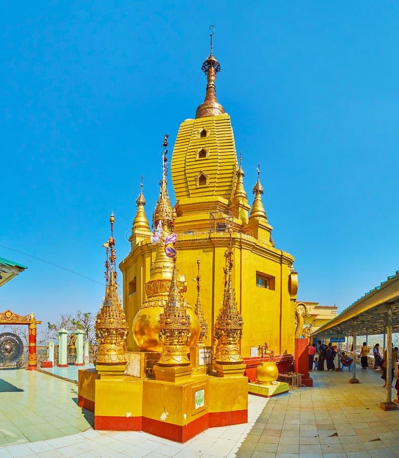 波帕岛塔翁Kalat修道院,缅甸华丽寺庙  免版税库存照片